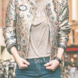 Jacquard bomber jacket.